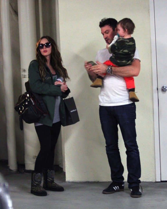 A pregnant Megan Fox with husband Brian Austin Green and son Noah at the doctors in LA