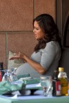 A pregnant Vanessa Lachey shows off her massive baby bump at Via Alloro