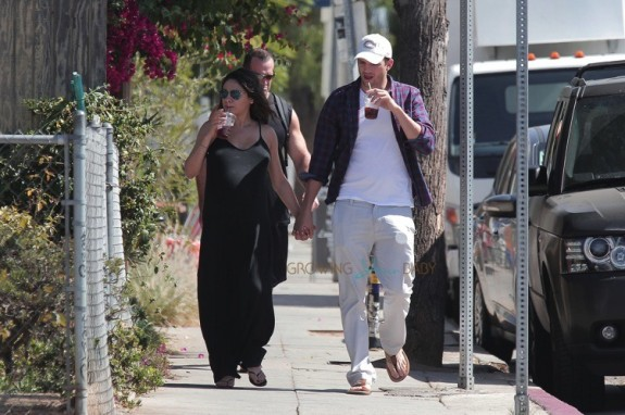 A very pregnant Mila Kunis and Ashton Kutcher out in LA