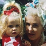A young Peaches Geldof with mother Paula Yates