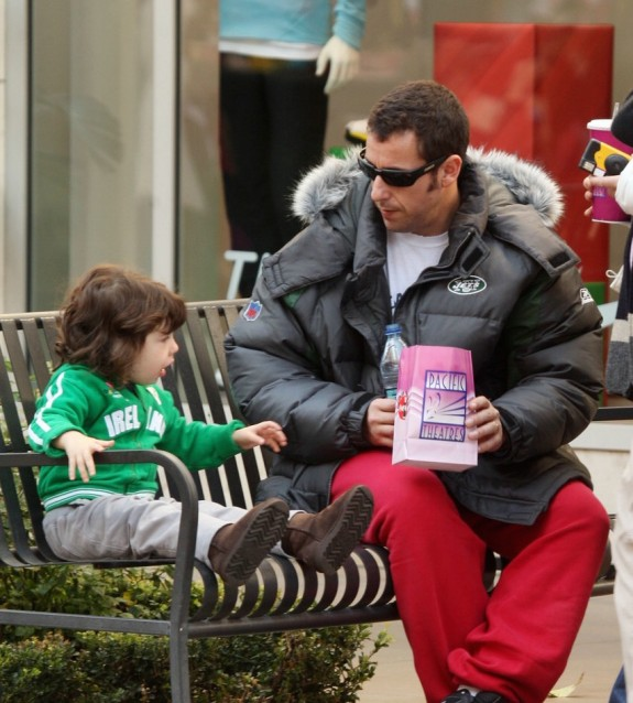 Adam Sandler at the Grove with wife Jackie and daughter Sadie