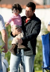 "Adam Sandler plays with his daughter Sadie during a break from filming for his new movie ""Bedtime Stories"""
