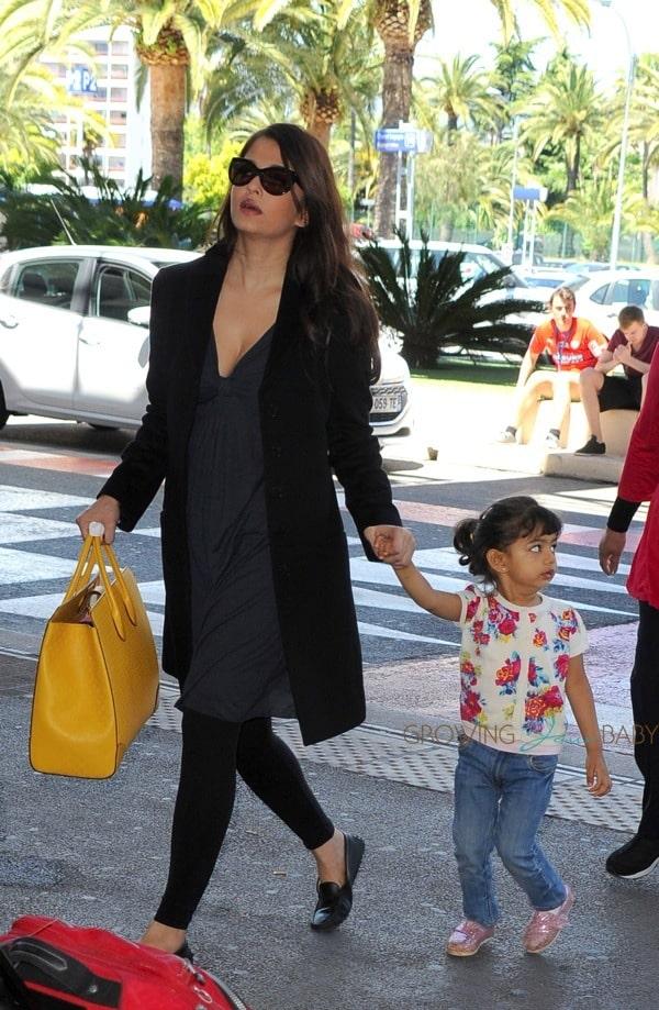 Aishwarya Rai Arrives at Nice Airport With Daughter ...