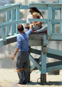 Alanis Morissette takes her son Ever out for a day on the beach in Santa Monica