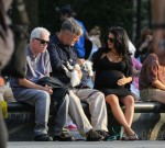 Alec Baldwin and his pregnant wife Hilaria Thomas seen out and about in Washington square park in New York City
