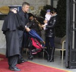 Alec Baldwin and wife Hilaria with daughter Carmen in Madrid