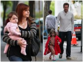 Alexis Denisof and Alyson Hannigan out in NYC with their girls Keeva and Satyana
