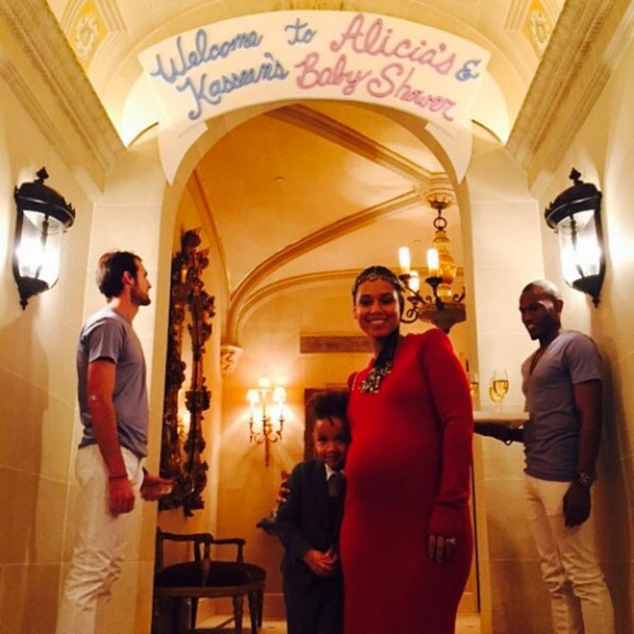 Alicia Keys with son Egypt at her baby shower