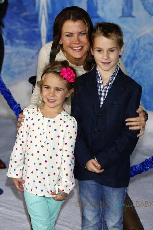 Alison Sweeney with son Ben and daughter Megan at Disney Frozen Premiere