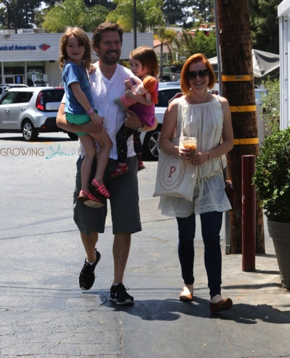 Alyson Hannigan, Alexis Denisof with Keeva and Satyana Denisof at the Brentwood Country Market