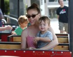 Alyssa Milano and Milo Thomas Bugliari at the farmers market in LA