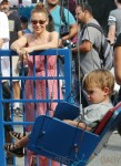 Alyssa Milano with son Milo Thomas Bugliari at the farmers market