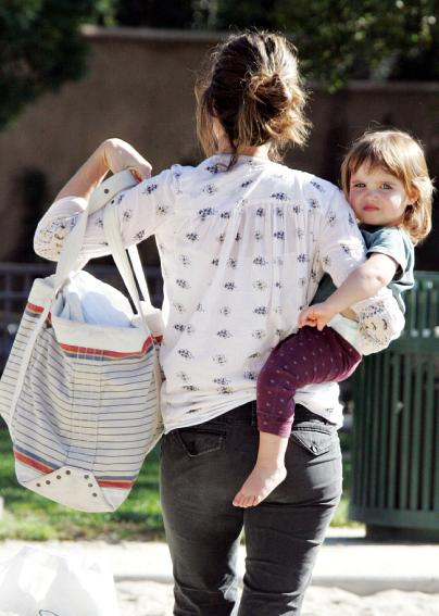 Amanda Peet at the park with daughter Frances Pen Benioff
