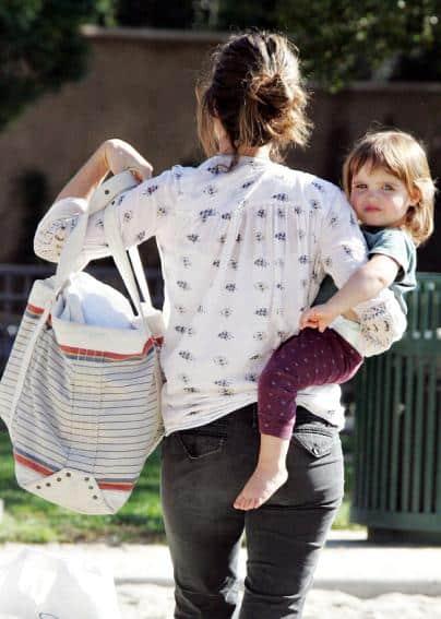 Amanda Peet at the park with daughter Frances Pen Benioff
