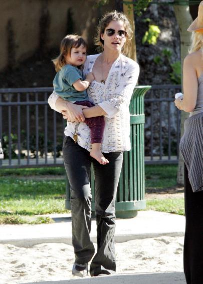 Amanda Peet at the park with daughter Frances Pen
