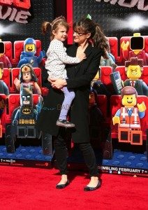 Amanda Peet with daughter Molly at the premiere of the LEGO Movie