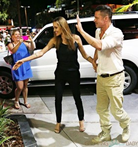 Angelina Jolie and Brad Pitt arrives at Shipwreck Bar and Grill in Airlie Beach, Queensland, Australia