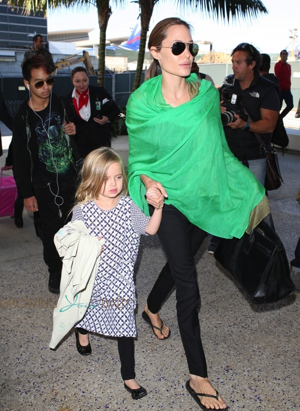 Angelina Jolie And Daughter Vivienne At Lax Airport