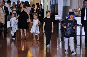 Angelina Jolie with kids Shiloh, Vivienne, Knox and Pax in Tokyo