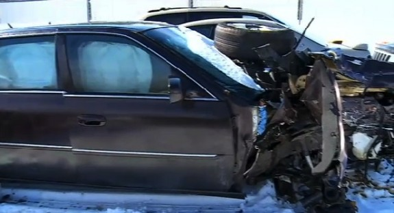 Anja Bochenski's car after the accident