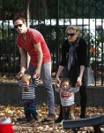 Anna Paquin and Stephen Moyer with their twins Poppy and Charlie in NYC