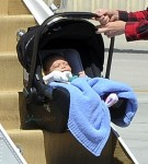 Apollo Rossdale gets ready for his first flight on board a private plane