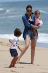 Auntie Khloe at the beach with Mason and Penelope
