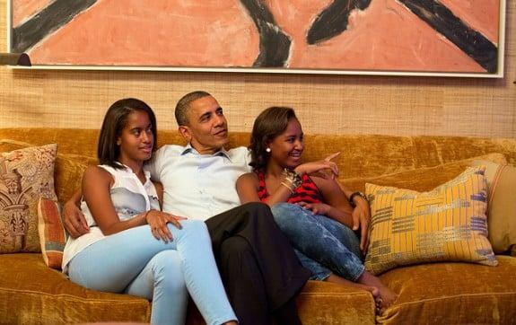Barack Obama with daughters Sasha and Malia