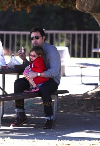 Ben Affleck at the park with his daughter Seraphina