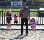 Ben Affleck at the park with his girls Violet & Seraphina