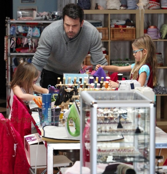 Ben Affleck with his daughter Seraphina and Violet at a sewing shop in Santa Monica