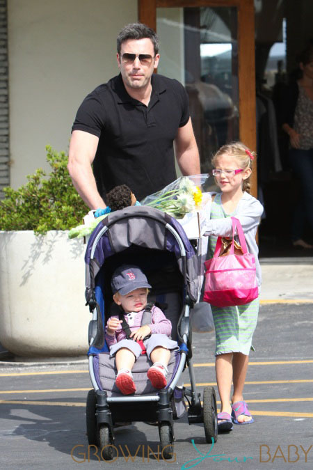 Ben Affleck and Jennifer Garner take their son Samuel and older daughter Violet to the Farmers Market in Pacific Palisades, Los Angeles