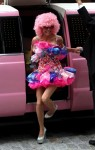 Bethenny Frankel steps out of a pink limousine dressed up as candy for Halloween