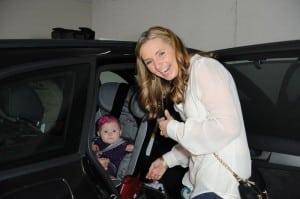 Beverley Mitchell with daughter Kenzie at Santa's Workshop