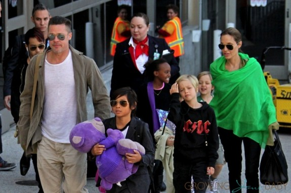 Brad Pitt and Angelina Jolie at LAX with kids Maddox, Zahara Pax, Shiloh, Vivienne & Knox