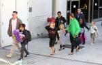 Brad Pitt and Angelina Jolie at LAX with kids Maddox, Zahara Pax, Shiloh, Vivienne and Knox