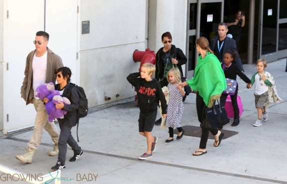 Brad Pitt and Angelina Jolie at LAX with kids Maddox, Zahara Pax, Shiloh, Vivienne and Knox