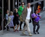 Brad Pitt and Angelina Jolie at LAX with kids Pax, Shiloh, Vivienne & Knox