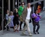 Brad Pitt and Angelina Jolie at LAX with kids Pax, Shiloh, Vivienne & Knox