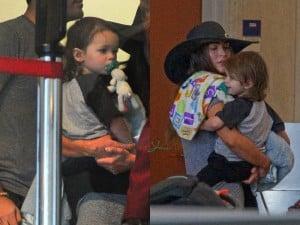 Brian Austin Green and Megan Fox at LAX with their son Noah