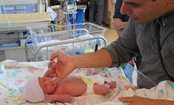 Brian Lande with his son
