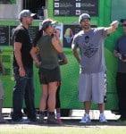 Britney Spears and her boyfriend David Lucado with Kevin Federline at Jayden's soccer game