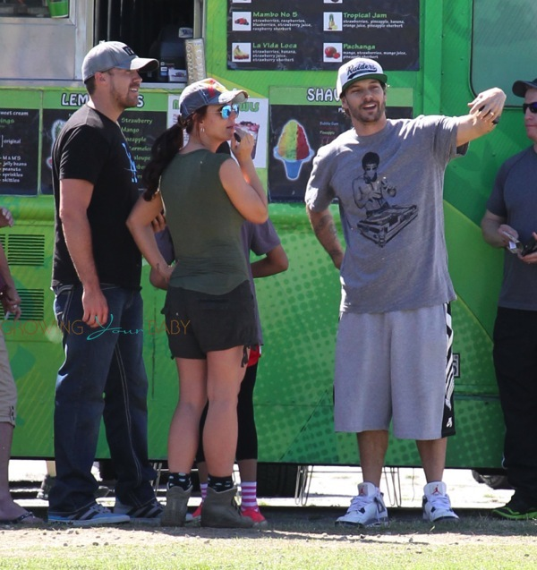 Britney Spears and her boyfriend David Lucado with Kevin Federline at Jayden's soccer game