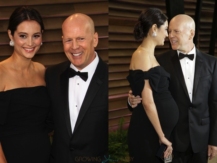 Bruce Willis with pregnant wife Emma Heming attend Vanity Fair party 2014