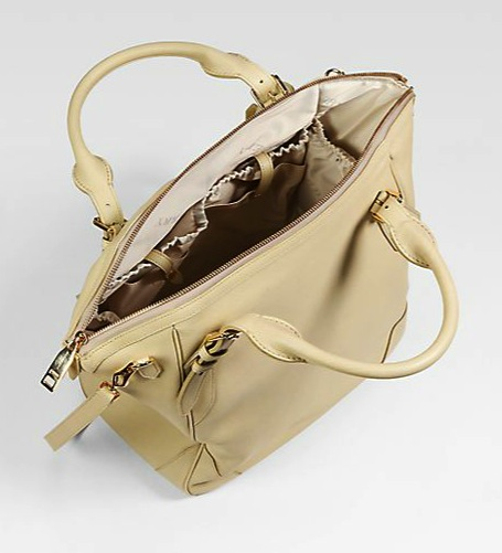 Burberry Carolina Pebble-Grain Leather Diaper Bag inside