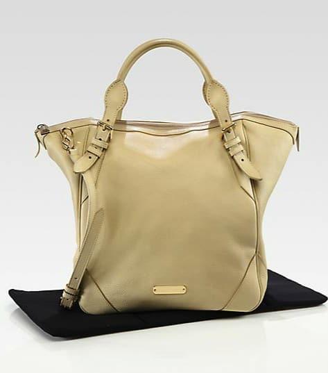 Burberry Carolina Pebble-Grain Leather Diaper Bag with change pad