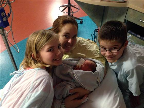 Caleb, 12, and Kaitlyn, 9, bond with their stepmom Amanda and one of their three new baby sisters