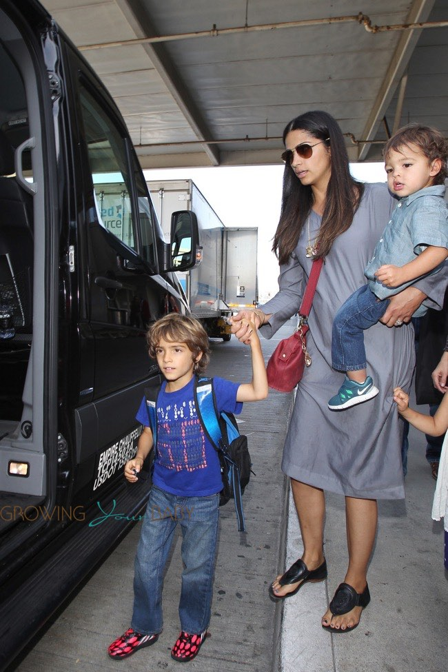 Camila Alves @ the airport with kids Levi, Vida ...