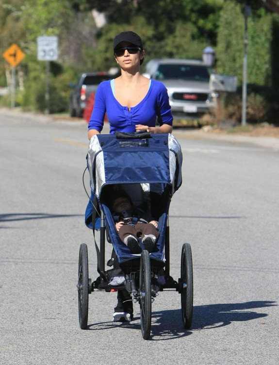 Camila Alves goes for a jog with her and Matthew McConaughey's baby, Levi