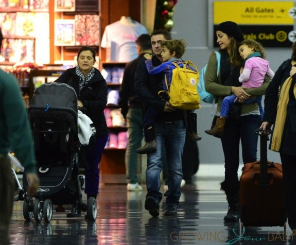 Camila Alves at LAX with kids Levi, Livingston and Vida